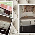 Bureau chiné transformé, patine shabby...