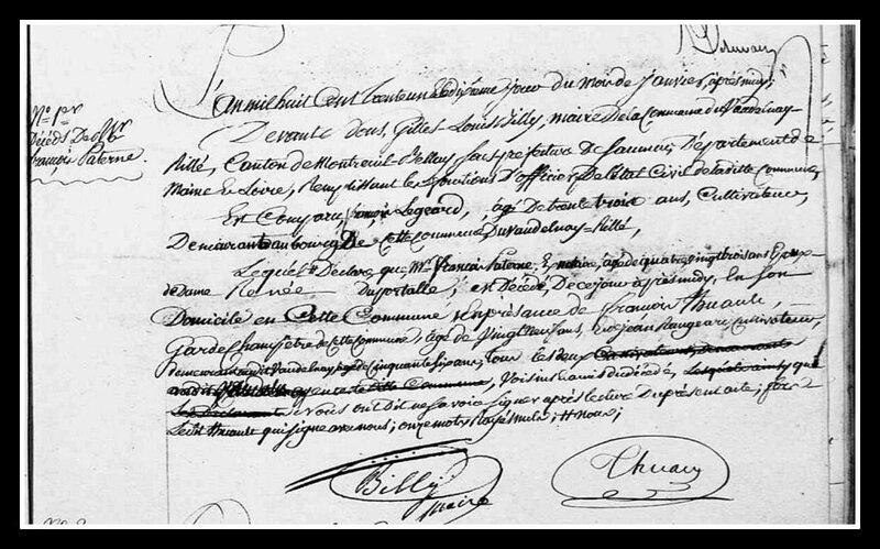 acte décès François Paterne