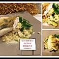 Filet de sandre rôti et risotto de blé aux courgettes et fromage blanc ( 520 cal/ par personne)
