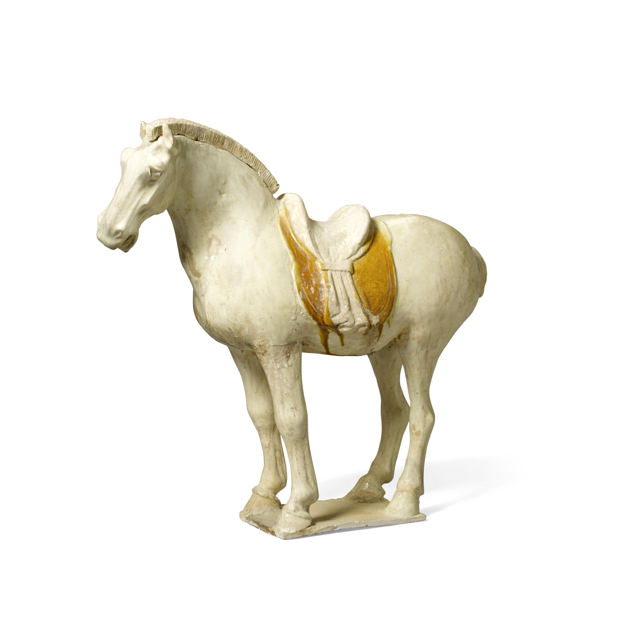 A straw and chestnut glazed pottery figure of a horse, Tang dynasty (618-907)
