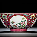 A fine ruby-ground sgraffiato medallion bowl, seal mark and period of daoguang (1821-1850)