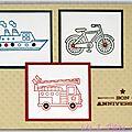 carte d'anniversaire pour garçon avec véhicules