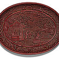 A rare and finely carved cinnabar lacquer dish, yongle mark and period (1403-1424)