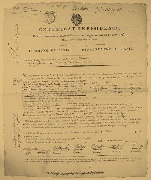 Dossier documentaire : certificats de résidence.