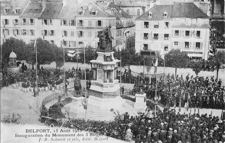 CPA Belfort Inauguration 3 Sièges 1913 Monument 1
