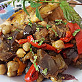 Salade aubergines-poivrons-tomates-pois chiches