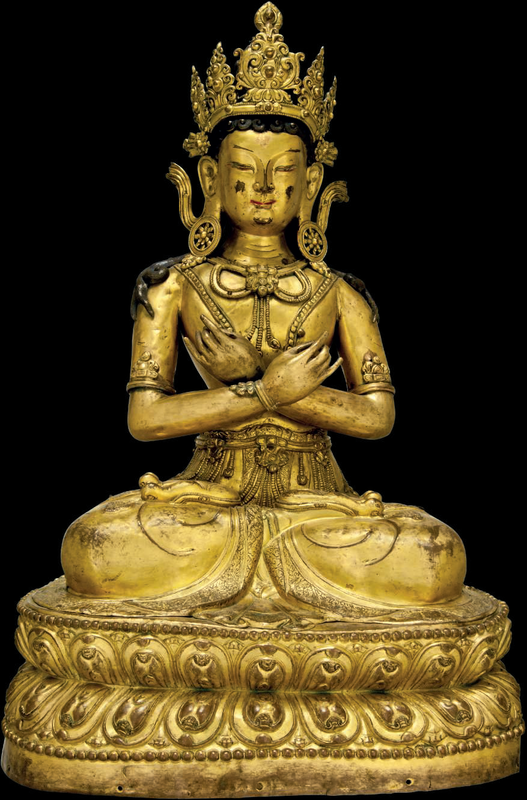A large gilt-bronze figure of Vairocana, circa 17th century 1