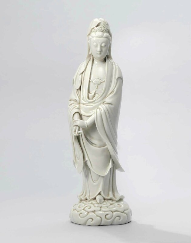 A rare Dehua standing figure of Guanyin, Ming dynasty, 16th-early 17th century, impressed He Chaozong mark