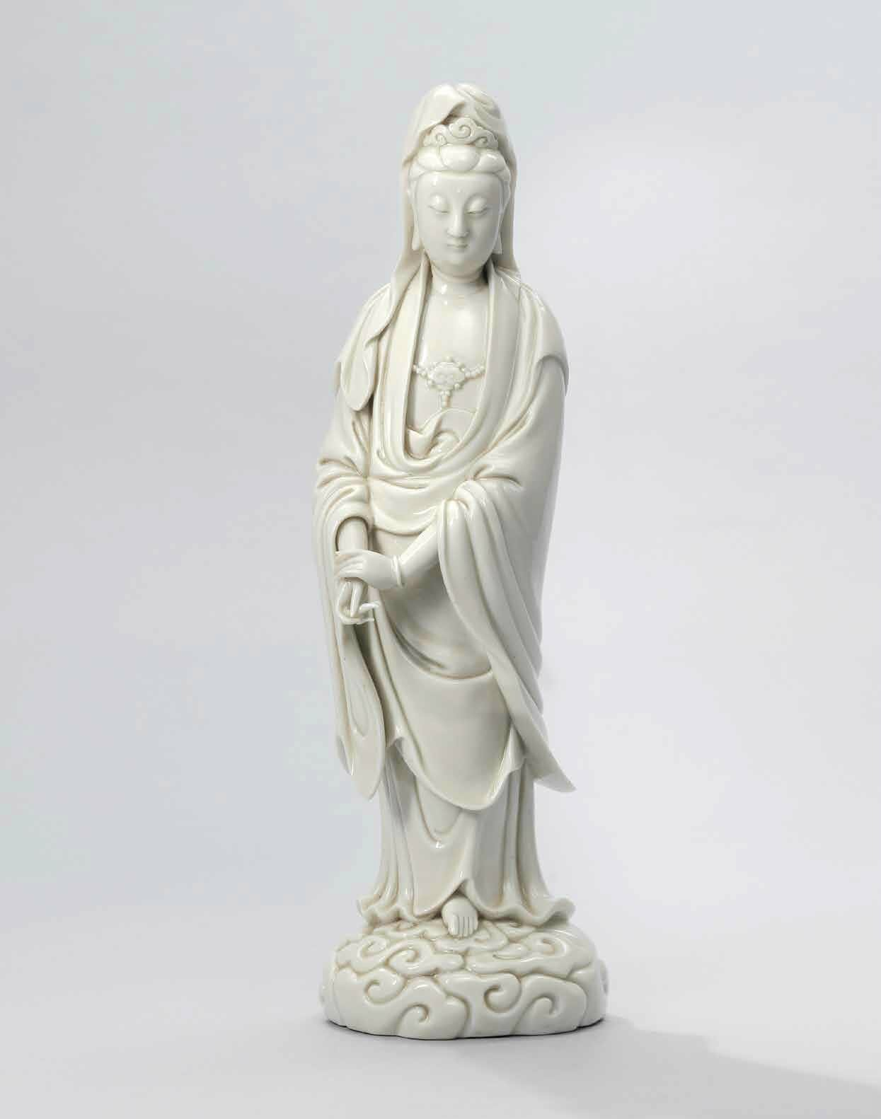 A rare Dehua standing figure of Guanyin , Ming dynasty, 16th-early 17th century, impressed He Chaozong mark