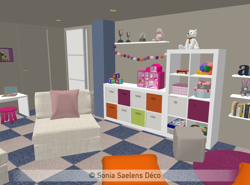 projet client un sous sol am nag en salle de jeux sonia saelens d co. Black Bedroom Furniture Sets. Home Design Ideas