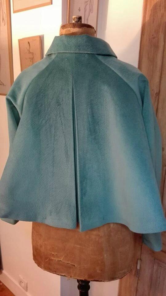 Veste VICTORINE en velours bleu canard - Doublure de satin noire (9)
