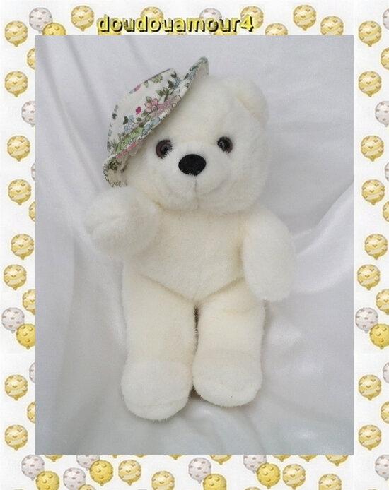 Doudou Peluche Ours Blanc Chapeau Fleurs 27 cm