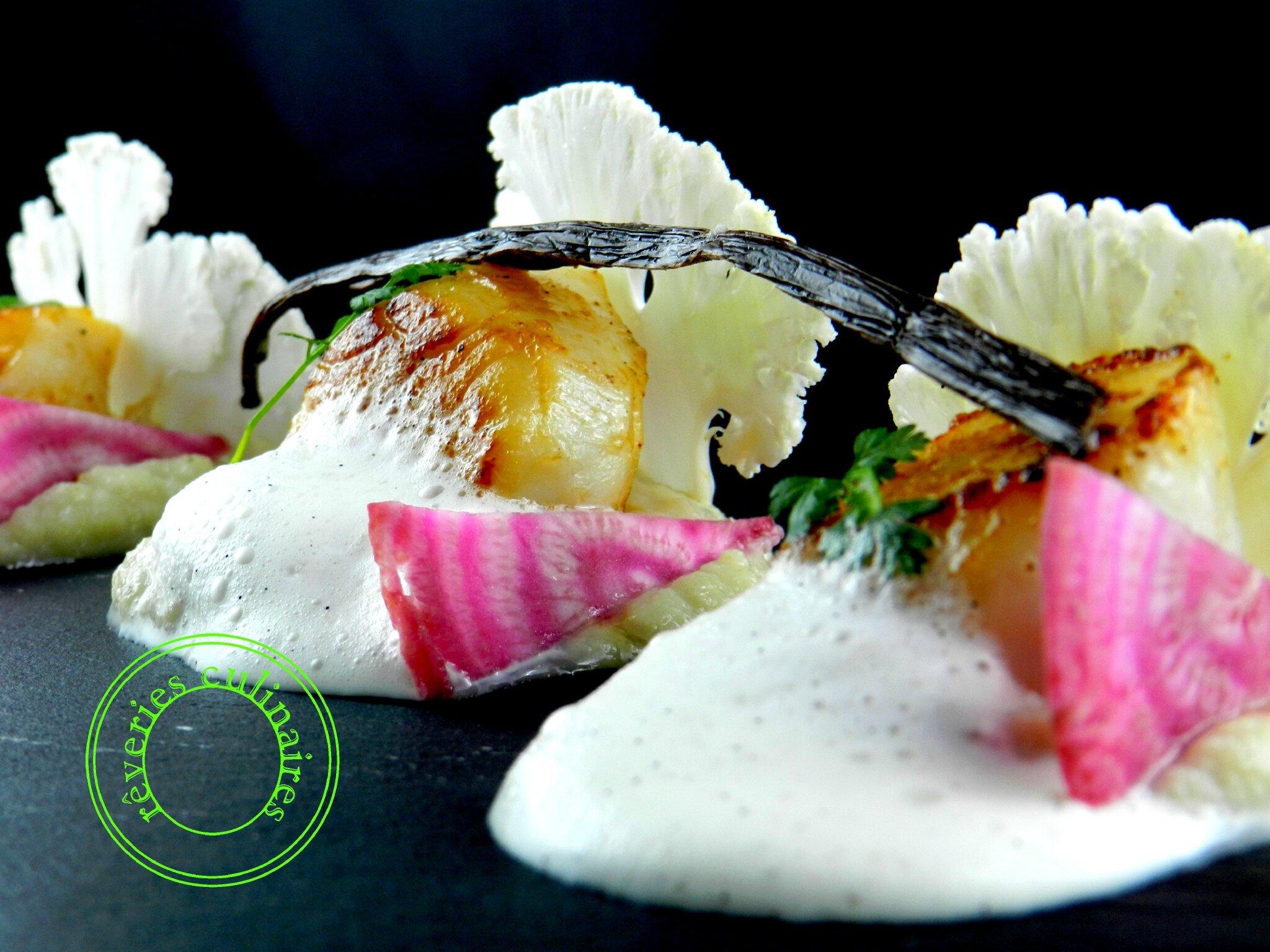 Noix de Saint-Jacques , chou fleur cru cuit, espuma à la vanille