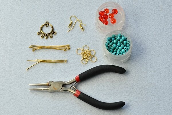 PandaHall Tutorial on How to Make Vintage Style Turquoise Bead Chandelier Earrings 2
