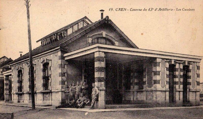 19 - Caen, caserne du 43e d'artillerie, les cuisines (carte postale coll. Verney-grandeguerre)