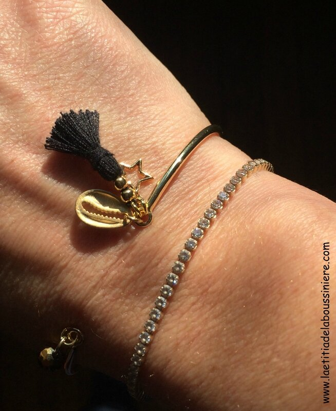 Bracelet Agatha (noir et doré) - 15 €