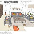Projet client: une pièce de vie contemporaine égayé