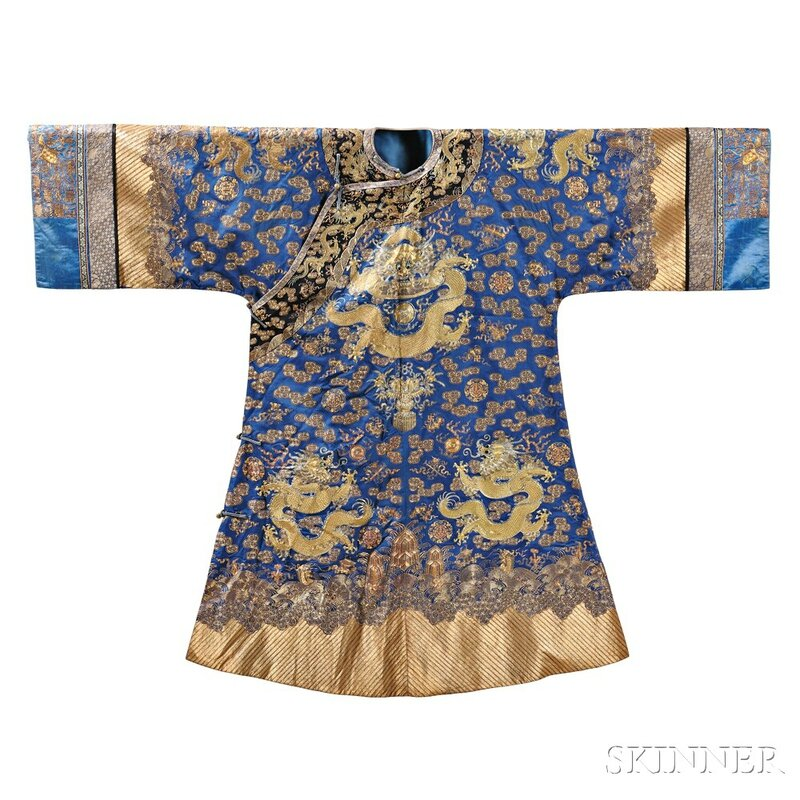 Blue Silk Formal Embroidered Dragon Robe, China, 19th-20th century