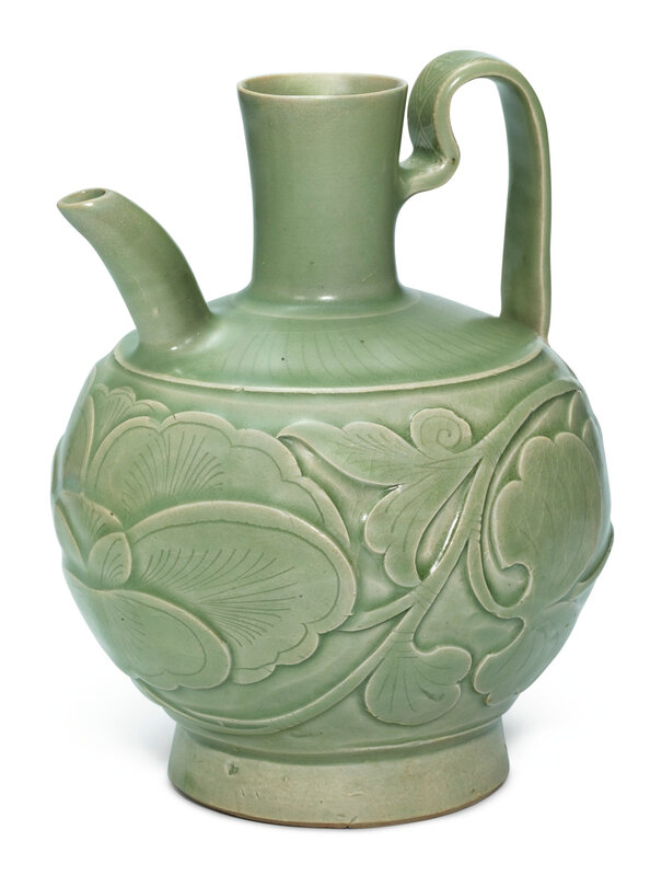 A carved Yaozhou celadon 'peony' ewer, Northern Song dynasty (960-1127)