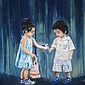 Deux enfants - pastelmat 50 x 70 cm