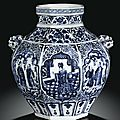 An important blue and white 'daoist immortal' jar, guan. yuan dynasty