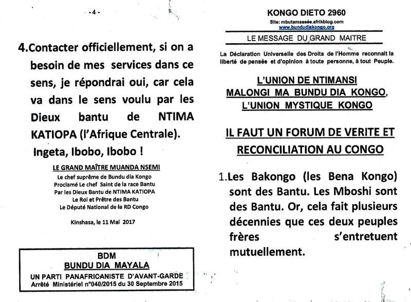 IL FAUT UN FORUM DE VERITE ET RECONCILIATION AU CONGO a