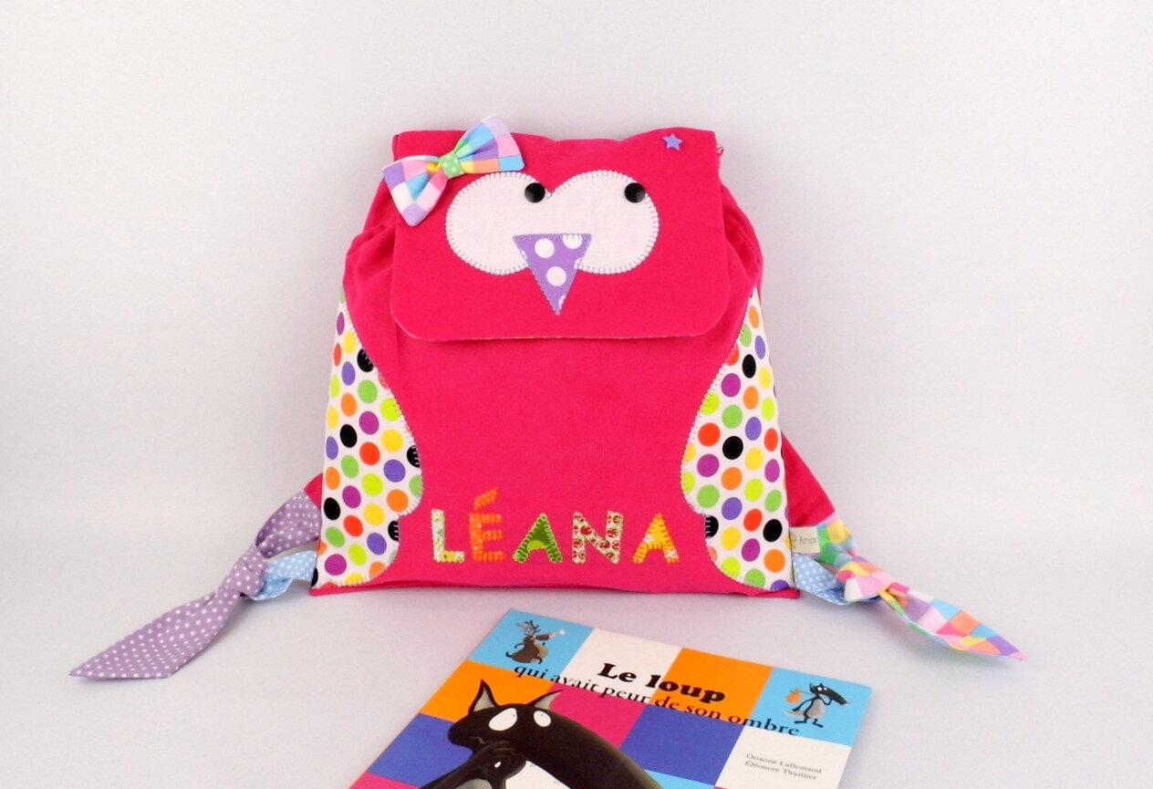 Cartable maternelle fille personnalisé prénom Léana hibou chouette rose multicolores cadeau fille personnalisable 3 ans