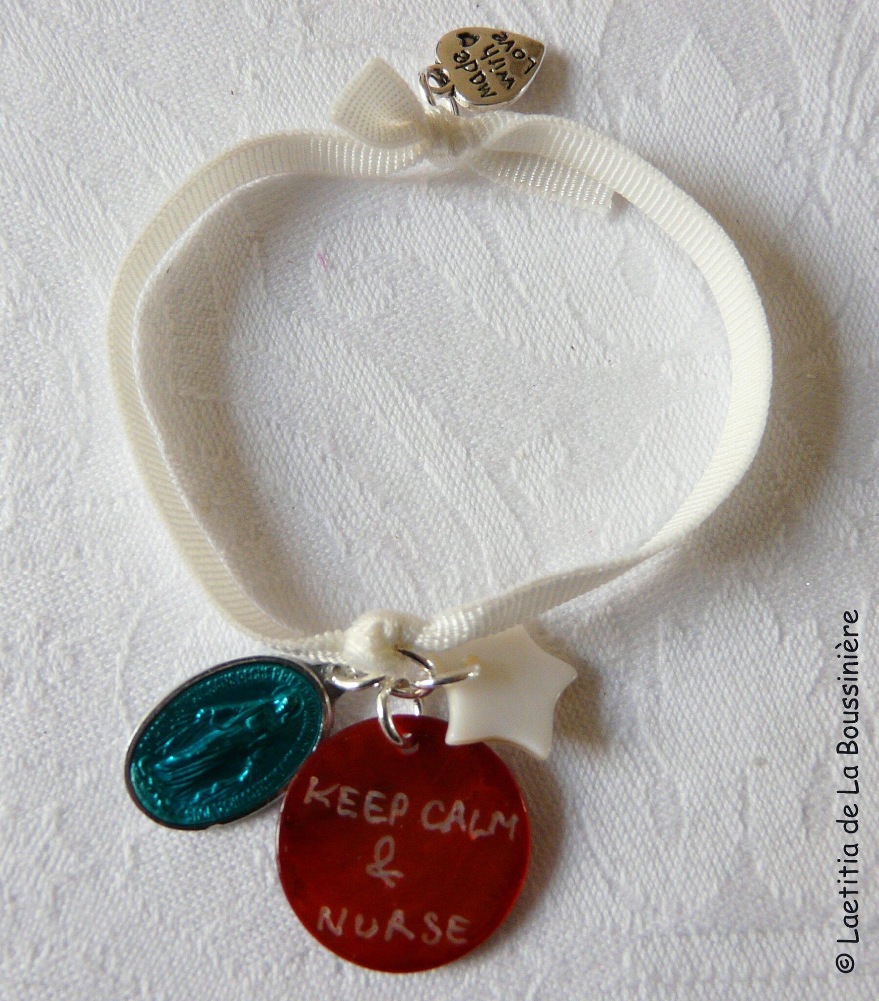 Bracelet d'allaitement Marie (tuquoise, orange et blanc)