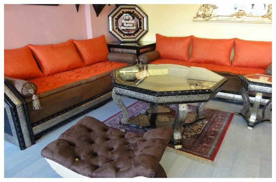 salon marocain biladi orange - Salon marocain moderne