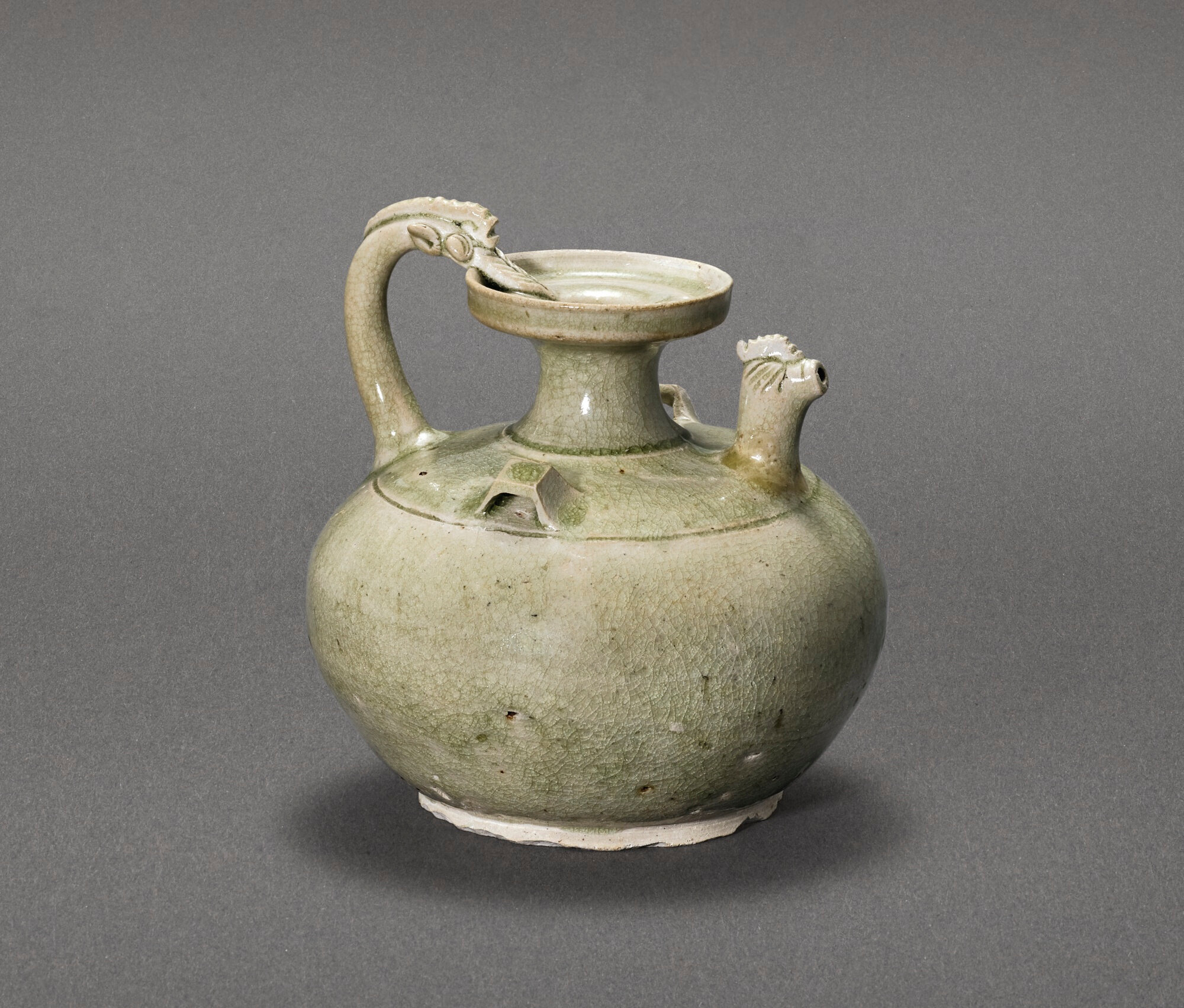 A 'Yue' celadon chicken-head ewer, Jin dynasty (1115-1234)
