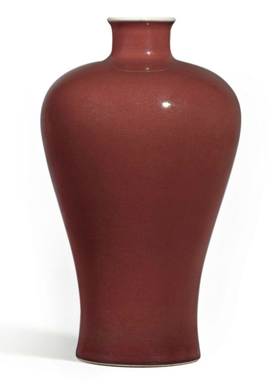 A fine copper-red glazed meiping, Seal mark and period of Qianlong (1736-1795)