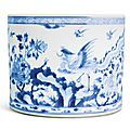 A blue and white 'phoenix and peony' brushpot, bitong, qing dynasty, kangxi period
