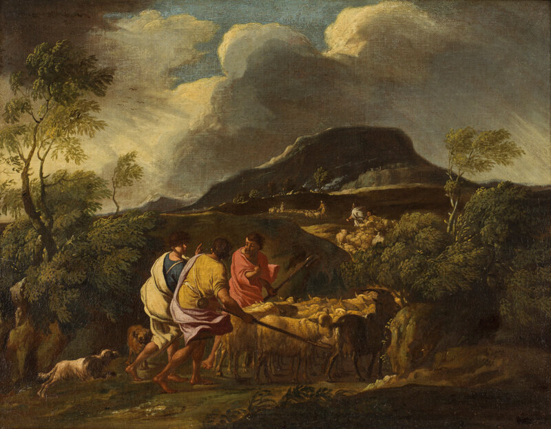 Gaspard Dughet, circle of, Landscape in a Storm with Shepherds and Cattle