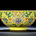 A rare yellow-ground 'yangcai' 'lotus' bowl, qianlong period (1736-1795)