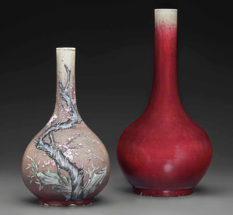 An enameled copper-red-glazed bottle vase and a copper-red-glazed bottle vase, 18th century