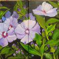 tableau hibiscus 2 toiles