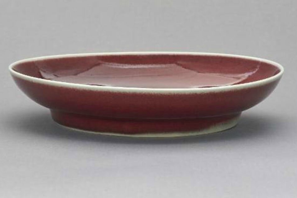 Dish with copper-red glaze; China, Jiangxi province, Jingdezhen; Ming dynasty, Xuande (1426-35) mark and period