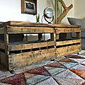 caisse en bois banc table sur roulettes