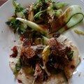Canard à la pékinoise, ses crêpes et salade de concombre