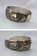 Bracelet Tibétain Gravure Symbole Chance Rigide Ouvert Argent Du Tibet Ajustable Unisexe