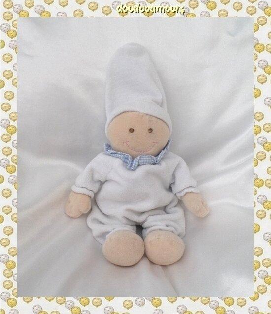 Doudou Peluche Lutin Poupée Beige Bleu Col Vichy Bonnet Baby Club