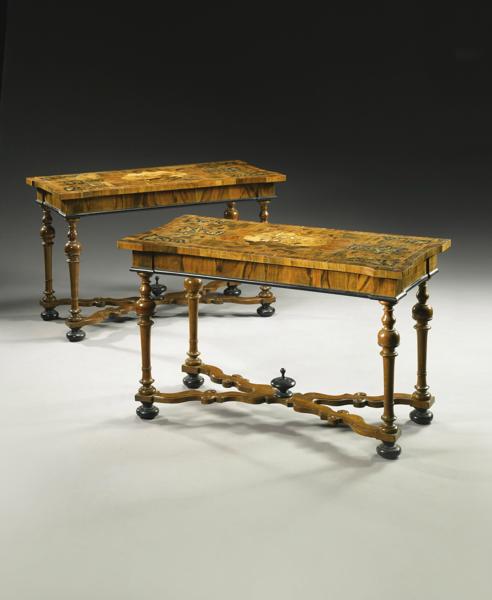 Charmant A Pair Of Italian Ivory, Mother Of Pearl, Pewter And Fruitwood Inlaid  Walnut, Ebony Marquetry And Parquetry Console Tables