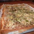 Grande plaque quiche fromagère au crumble d'avoine