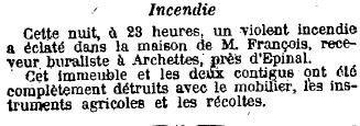 1919 - Incendie chez Mr François buraliste