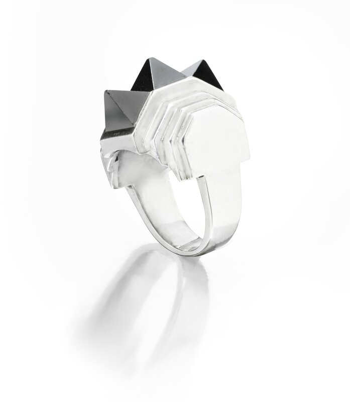 A Hematite and Silver Geometric Ring, by Suzanne Belperron, circa 1930s