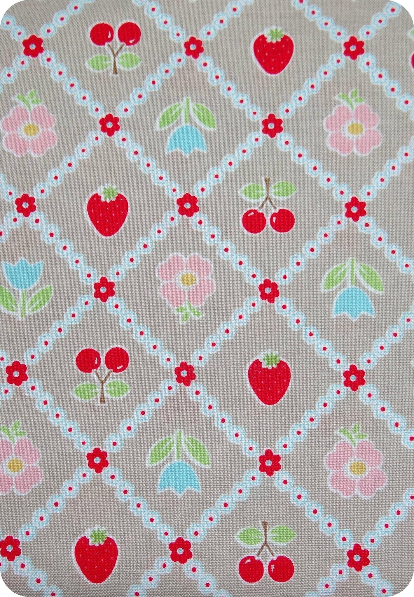 Tissu fraises et cerises