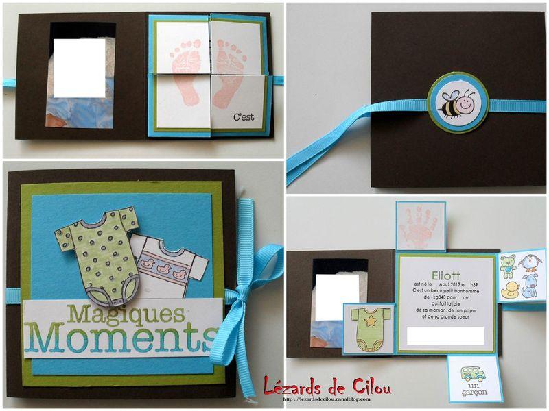 une carte mini album pour une naissance l zards de cilou. Black Bedroom Furniture Sets. Home Design Ideas