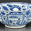 A large blue and white 'kraak porselein' bowl, late ming-transitional period, 1635-1660
