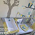 décoration chambre bébé chouette hibou arbre oiseau nichoir bleu ciel jaune bleu pétrôle canard gris 2