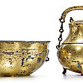 A gilt-bronze tripod vessel (hu) and cover with a basin, han dynasty (206 bc-ad 220)